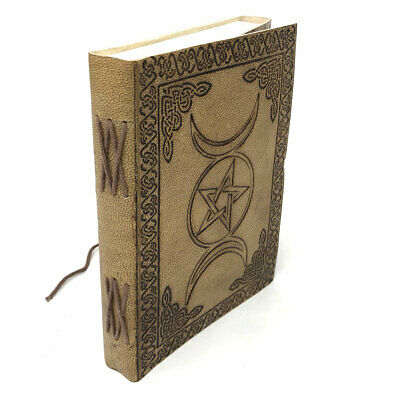 Triple Moon and Pentagram Leather Journal 5x7 with Cord NEW Unlined Handmade