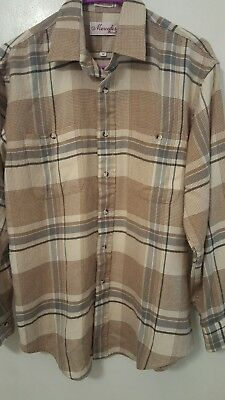 aadb786c Vintage Mercedes by Enro Men's Size Medium Beige Plaid Long Sleeve Acrylic  Shirt