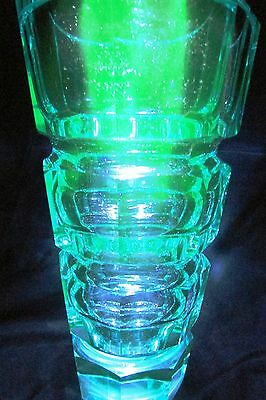 "UNIQUE AQUAMARINE URANIUM CUT GLASS  FACETED  VASE MOSER 9.65"" tall  #2"