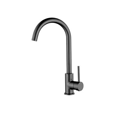 New Brushed Goose Neck Gunmetal Kitchen Basin Mixer Tapware