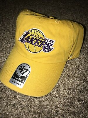 e147db4adb6 LOS ANGELES LAKERS 47 Brand Clean Up Adustable Hat Cap Yellow ...