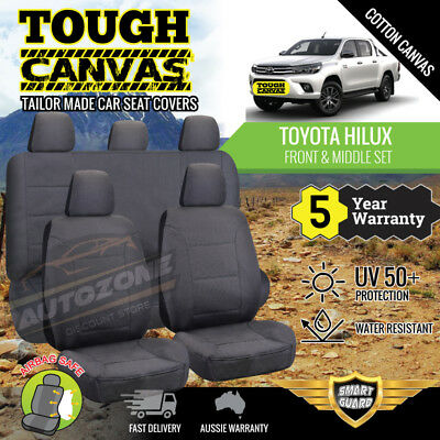 Canvas Seat Covers for Toyota Hilux Dual Cab SR5 4x2 2ROWs 04/2005-06/2016 BLACK