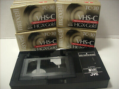 JVC VHS-C Cassette Tape Adapter Converter Motorized VHS-C to VHS + 8 VHS-C Tapes