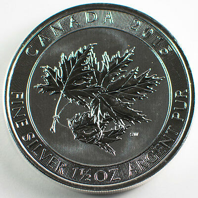 1.5 oz silver, 2015 Maple Leaf, one and a half ounce 0.9999 Fine silver