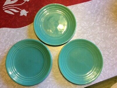 Vintage Green Bauer Ringware Salad or Dessert Plates 7 and 3/4 Inches