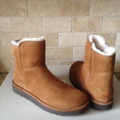 3dea7d0e64a UGG ABREE MINI Bruno / Brown Suede Shearling Zip Ankle Boots Size Us ...