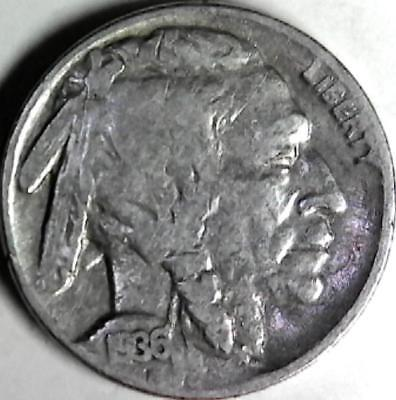 1936 Buffalo nickel 5 cents. Good detail obverse and reverse. 2981