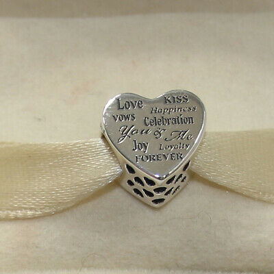 New Authentic Pandora Charm Celebration Heart 792060 Bead W Tag & Suede Pouch