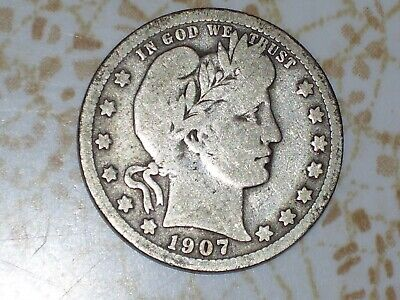 1907 and 1909 Barber (or Liberty Head) Silver US Quarters