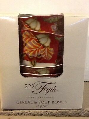 222fifth Gabrielle Red Cereal Bowls 4 New In Box