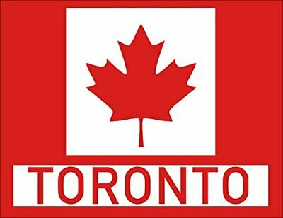 3x4 inch Red Maple Leaf Rectangle with Toronto Sticker (Canadian Canada City)