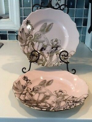 222Fifth Garden Playtime Pink Gold Easter , Bunny 4 New Salad Plates