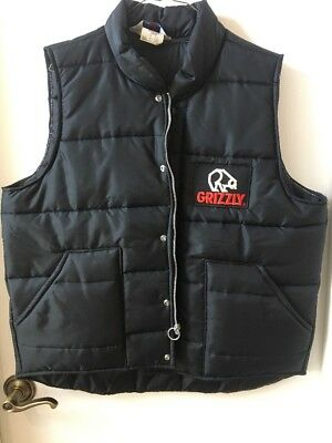 Vintage Great Lakes Sportswear Black Puffer Vest Grizzly Advertising XL USA