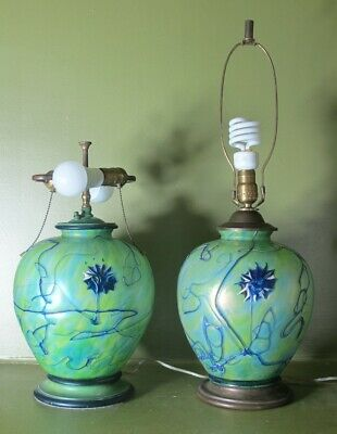 Very Rare Pair of PALLME KONIG ART NOUVEAU Glass Lamps  c. 1915  antique loetz