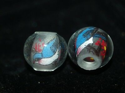 Pair of Vintage Chinese Reverse Painted Glass Beads Blue Bird 15mm Round