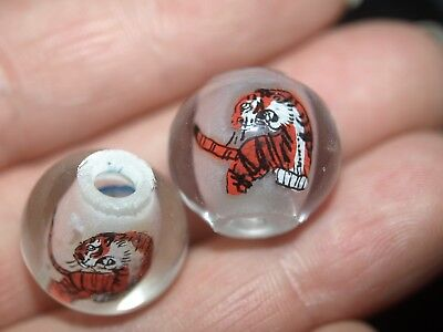 Pair of Vintage Chinese Reverse Painted Glass Beads Tiger 15mm Round