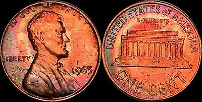 1965 Lincoln Memorial 1 Cent Penny Beautiful  Color Toned Coin In High Grade