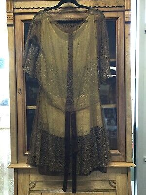 1920's ANTIQUE VINTAGE FLAPPER Beaded Beading Metallic Gold Lace DRESS