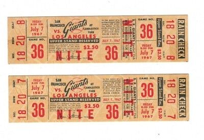Two 1967 San Francisco Giants Los Angeles Dodgers Full Ticket July 7 Nite Game