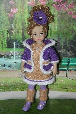 "Outfit FOR Dianna Effner 13"" Little Darling Dolls=Purple Gold Jacket Dress = NEW"