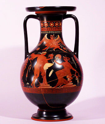 Red Figure Vase Ancient Greek Museum Replica Ware Magna Graecia Attic Amphora ++