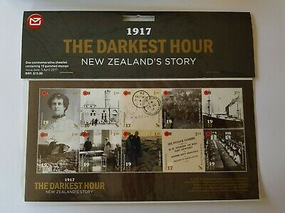 2017 New Zealand Strip Of 10 Wwi The Darkest Hour Stamp Mini Sheet