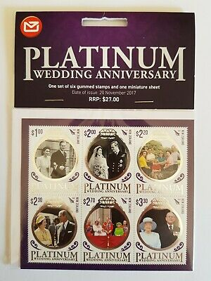 2017 New Zealand Platinum Wedding Anniversary 6 Stamp Mini Sheet Plus 6 Stamps