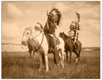 SIOUX CHIEFS ON HORSEBACK Edward S. Curtis 1905 8x10 Restoration Photoprint RP