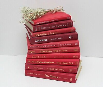10 Decorative Red Books by the Foot - Home Bookshelf Display, Staging, Wedding