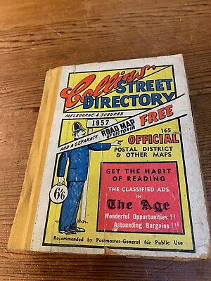 Vintage Collin's 1957 Melbourne Street Directory with Victorian Map
