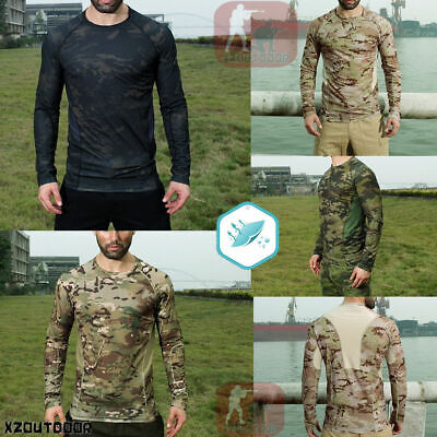 Military Long Sleeve Tactical T-Shirt Resistant Quick Dry Combat Hiking MULTICAM