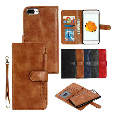 iPhone 6s 7 8 Plus Wallet Removable Case Magnetic Detachable Leather Card Cover
