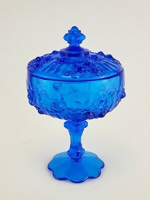 Vintage Fenton Style Colonial Blue Floral print Round Covered Candy Dish Glass