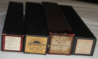 Lot of 4 Player Piano Rolls Melodee 95285 Trionfol 119 Melodee 80877 Palazzol 55