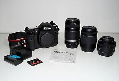 Canon EOS 7D Digital SLR Camera 18.0MP with With Three Lenses