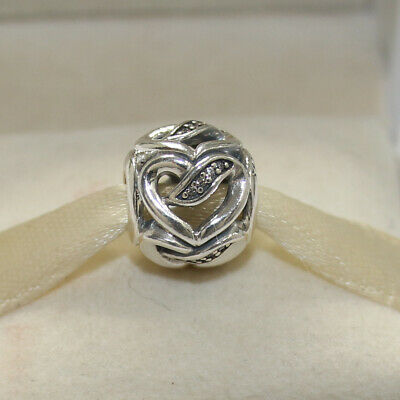 69e506faa New Authentic Pandora Charm Ribbons of Love Bead 792046CZ W Tag & Suede  Pouch