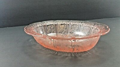 Large  Pink oval Depression Glass Serving Bowl ~ Scalloped Edge