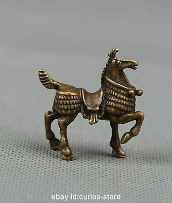 "1.5"" Collection Curio Chinese Fengshui Bronze Zodiac Animal Likable Horse Statue"