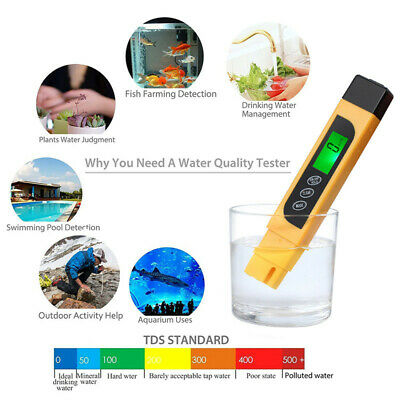 3 in 1 TDS EC Purity Meter TEMP Digital Water Quality Tester PPM Test Filter Pen