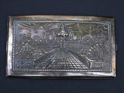 Cambodian Silver Box Repousse Angkor Wat Cigarette Box Vintage