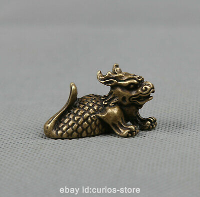 """1.5"""" Collection Curio Chinese Bronze Animal Lucky Dragon Fish Goldfish Statue 龙鱼"""