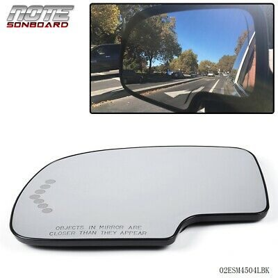 Mirror Glass Heated Chevron Turn Signal Blind Spot Driver Left LH for GM SUV New