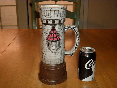 """CASTLE TOWER WALL, (SUPER SIZED, HANDMADE) Ceramic Beer / Coffee STEIN, 11"""" TALL"""