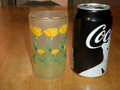 LONG STEM YELLOW ROSES, FROSTED GLASS DRINKING CUP, Vintage
