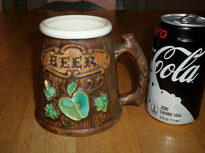 (3-D) GRAPHIC'S BEER MUG by: TREASURE CRAFT, Ceramic Mug, Vintage USA -1960's yr