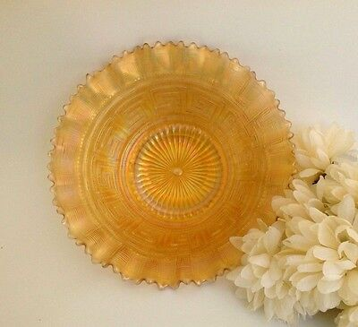 Antique Northwood Greek Key Marigold 9-inch Carnival Glass Plate, Art Glass Bowl