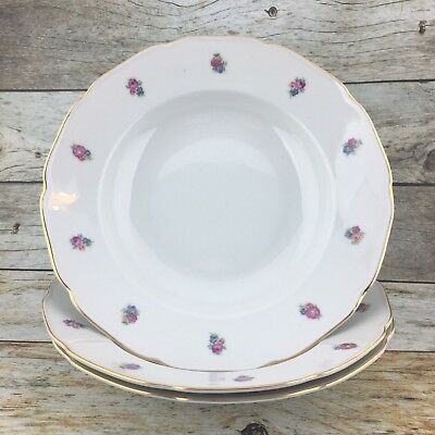 3 BOHEMIAN China Czechoslovakia Floral White Shallow Gold Trim Soup Cereal Bowl