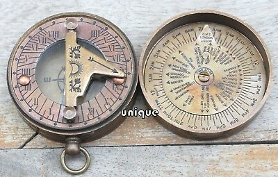 Nautical Antique Poem Sundial Compass Vintage Push Button Mini Compass Xmas Gift