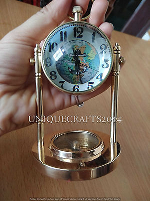 Antique Nautical Brass Watch W/Compass Table Decorative Marine Collectible Gift.