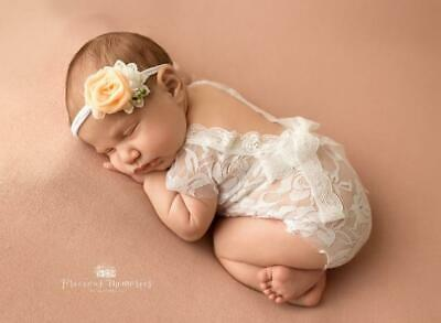 Newborn Baby Photography Prop Lace Patal Baby Girl Romper Outfit Clothes